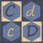 C c D d hexagon in vierkant