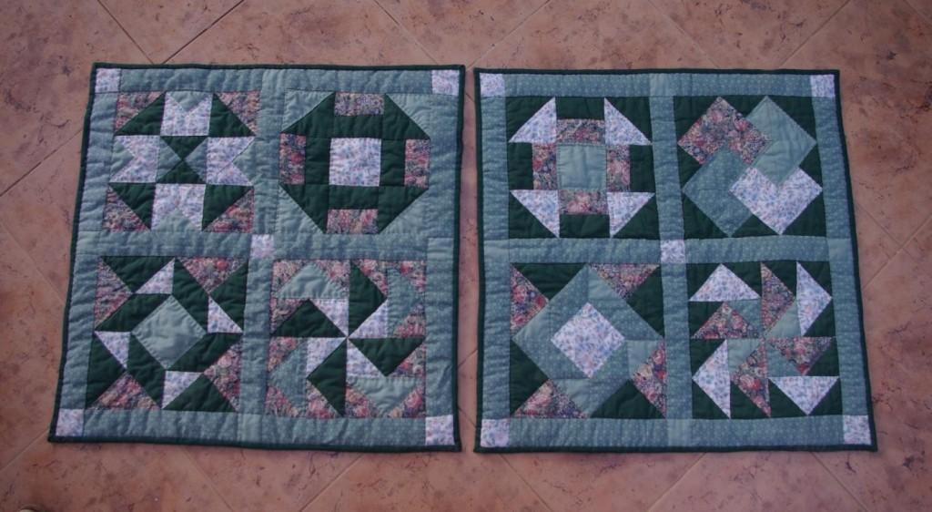 Kussen gemaakt van de basiscursus-quilt van René (nu nog leeg)