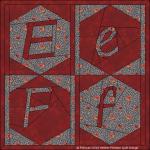 E e F f hexagon in vierkant