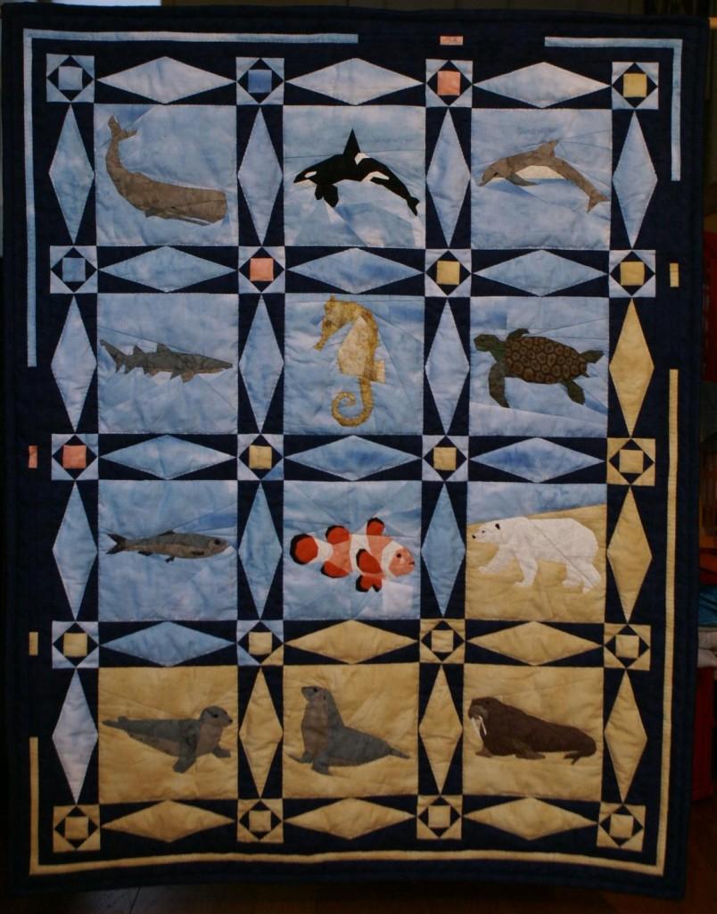 Zee quilt, gemaakt als voorkant voor het boek 'Zee'